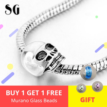 925 Sterling Silver Skull Charms Beads Fit Authentic pandora Bracelet Original Jewelry For Women Accessories