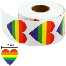 50-500 pezzi adesivi orgoglio Gay amore orgoglio adesivi arcobaleno amore cuore adesivo cottura 1 pollice amore arcobaleno nastro a forma di cuore