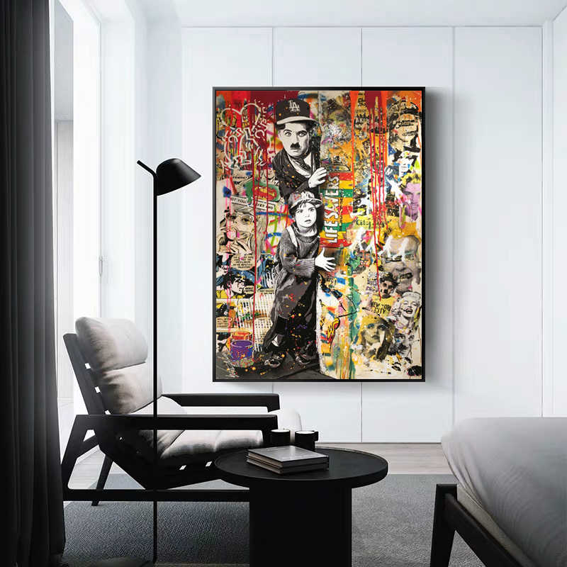 "Graffiti Art Chaplin ""No Smoking"" Canvas Painting Wall Pictures For Living Room Colorful Wall Art Modern Portrait Poster Cuadros"