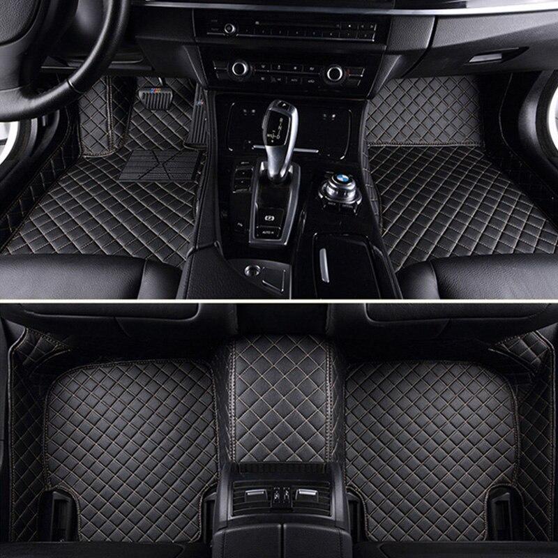 Tapis de sol en cuir personnalisé pour hyundai santa fe solaris 2011 tucson 2017 elantra accent i30 accessoires de voiture imperméables