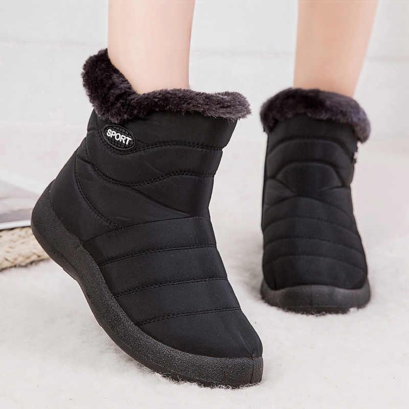 Kadın botları 2019 yeni kar botları kış ayakkabı kadın su geçirmez ayak bileği Botas Mujer artı boyutu 43 kış çizmeler kadın patik