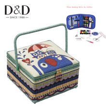 Big Sewing Kits Sewing Box Fabric Sewing Storage Basket With Free Sewing Accessories Fabric&Wooden Craft Box Mom Gifts