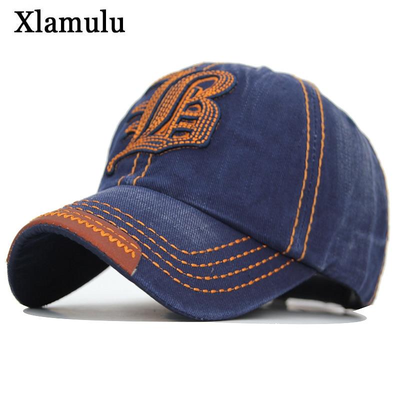 Xlamulu Men Jeans Denim Snapback Caps Baseball Hats For Men Women Gorras Casquette Bone Casual Sport Men Dad Male Hat Caps B