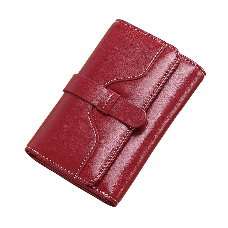 Fashion Women Genuine Leather Wallets Solid Short Hasp Small Coin Purse Multi Credit Card Holder Ladies Clutch Money Bag Leather