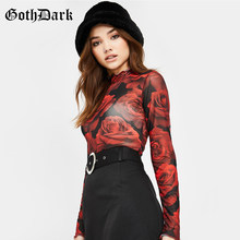 Goth Dark Floral Print Vintage Gothic T-shirts Women Harajuku Ruffle Long Sleeve Autumn 2019 Winter Female T-shirt Grunge Red(China)
