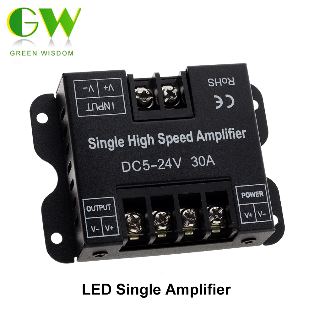 DC5V-24V LED Strip Amplifier 30A Single High Speed Controller Amplifier For Single Color LED Strip 5050 Power Repeater Console