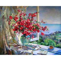 New diamond painting original window sill flower mysterious relationship column cross stitch full diamond paste painting living