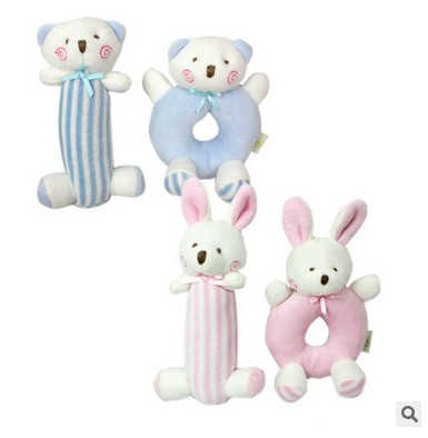 Bunny Bear Round Hand Ring Bang Rattle Set Pure Cotton Plush Hand-cranking Circle Baby Toys Hand-cranking Bell