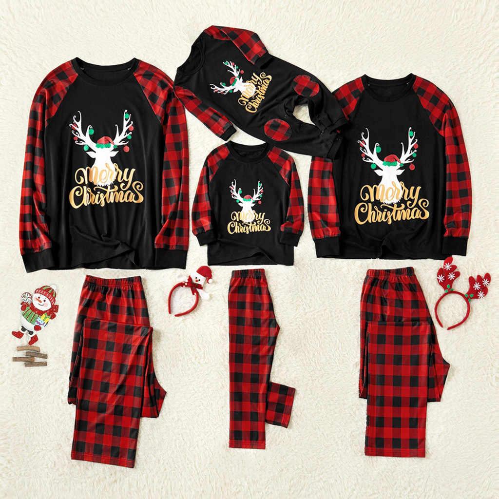 Ropa de Navidad recién nacido padre madre niños bebé niñas Navidad mameluco mono familia pijamas de Navidad ropa de dormir