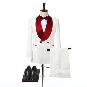 Image 1 - 아이보리 더블 브레스트 웨딩 턱시도 신랑을위한 레드 목도리 옷깃 두 조각 맞춤 제작 정장 남자 정장 (자켓 + 바지)