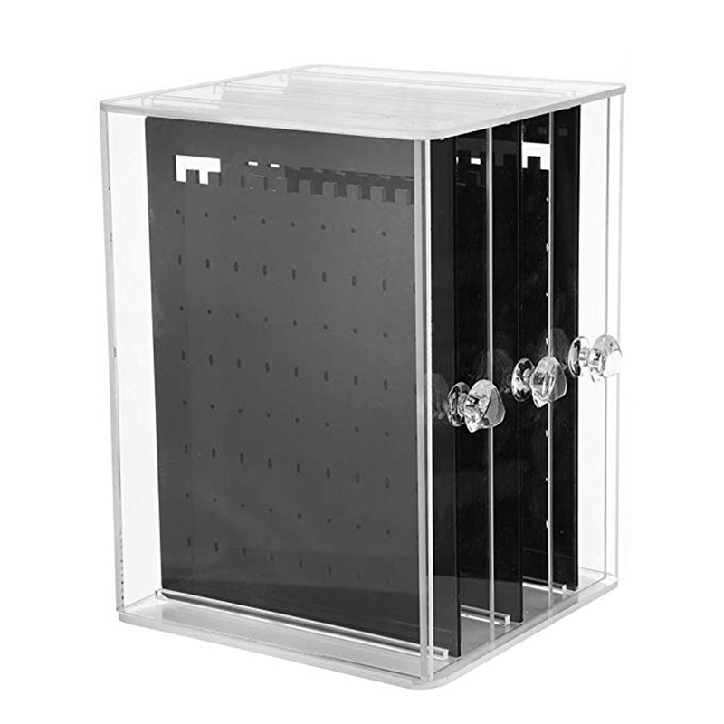 3 Vertical Drawer Earring Holder Jewelry Storage Box Transparent Display Holder Jewellery Stand Storage Cases Black