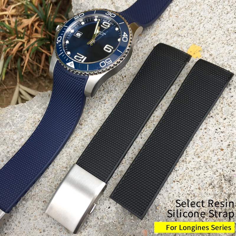21mm New Style Rubber Silicone Watch Strap Black Blue Gray Soft Folding Buckle Watch Band Suitable For Longines Conquest Watch