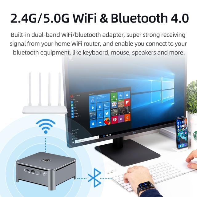 Mini PC Intel Core i9 9880H i7 9850H i5 9400H 8-Core 2xDDR4 M.2 NVME SSD HDMI DP 4K Tipo-C 5 * USB 2.4/5.0G WiFi BT4.0 Finestre 10