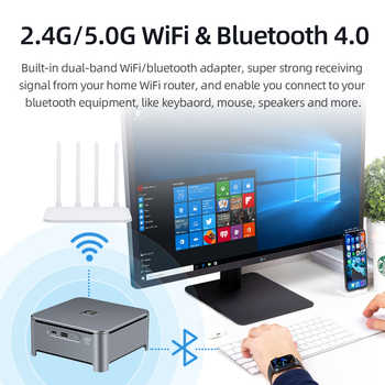 Mini PC Intel Core i9 9880H i7 9850H i5 9400H 8-Cores 2xDDR4 M.2 NVME SSD HDMI DP 4K Type-C 5*USB 2.4/5.0G WiFi BT4.0 Windows 10