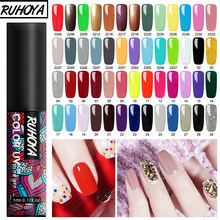 Ruhoya 5ml เล็บเจลเล็บชุด Need UV LED BASE Top Coat UV HYBRID Neon GEL Lacquer soak off เล็บวานิช(China)