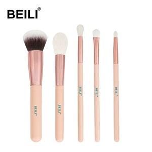 Кисти для макияжа BEILI, 5 шт., кисти для макияжа из розового матового сплава с ручкой из козьей шерсти, синтетические волосы для выделения тене...