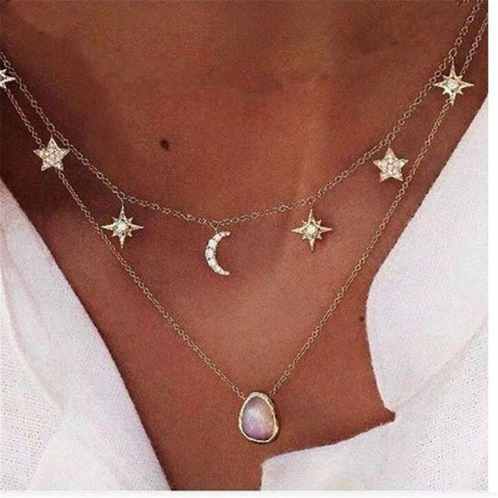 Bohemia Simple Fashion Imitation Star Moon Double layer Clavicle Chain Necklace Accessories Female Jewelry Gifts New