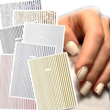 1Pcs Strip Tape Nail Sticker 3D Gold Silver Metallic Wavy Shaped Adhesive Gel-polish Stickes Decoration DIY Art Decals