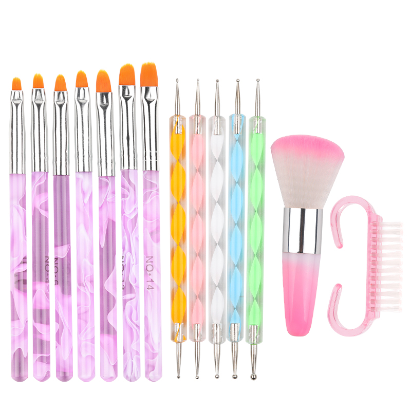 Nail Art Brush Acrylic Nail Polish Brush Kit UV Gel Nail Polish Paint Brushes Drawing Nail Pen Manicure Clean Brush Tools
