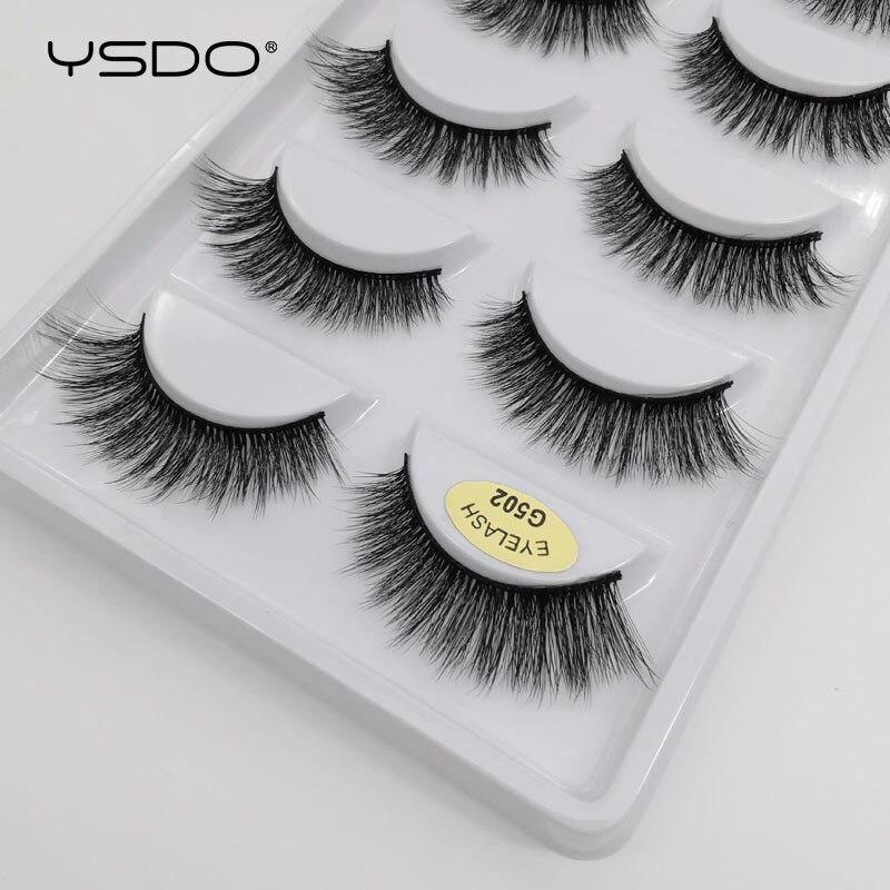 Image 4 - YSDO 5 pairs 3d mink lashes natural long mink eyelashes lashes maquillaje eyelash extension faux cils volume false eyelashes G5-in False Eyelashes from Beauty & Health