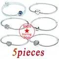 5 Stuks S925 Zilveren Armband Charm Simple Geschikt Voor Vrouwen Pandora Armband Sieraden Diy Sieraden