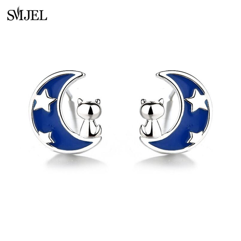 SMJEL Blue Sky Moon Star Stud Earrings For Women Fashion Earings Jewelry Cute Cat On The Moon Cat Earring Kids Gifts Birthday
