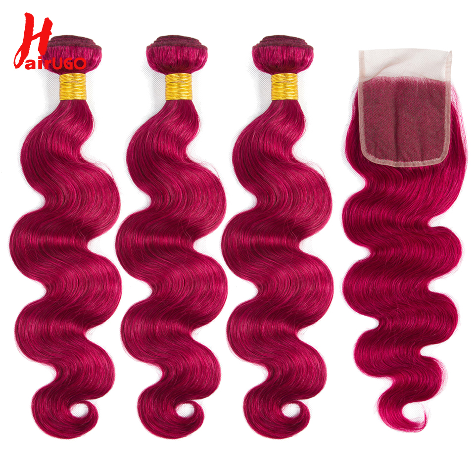 HairUGo Brazilian Body Wave Bundles With Closure Pre Colored  BUG Human Hair Bundles With 3/4 Lace Closure Non Remy Hair Weaving