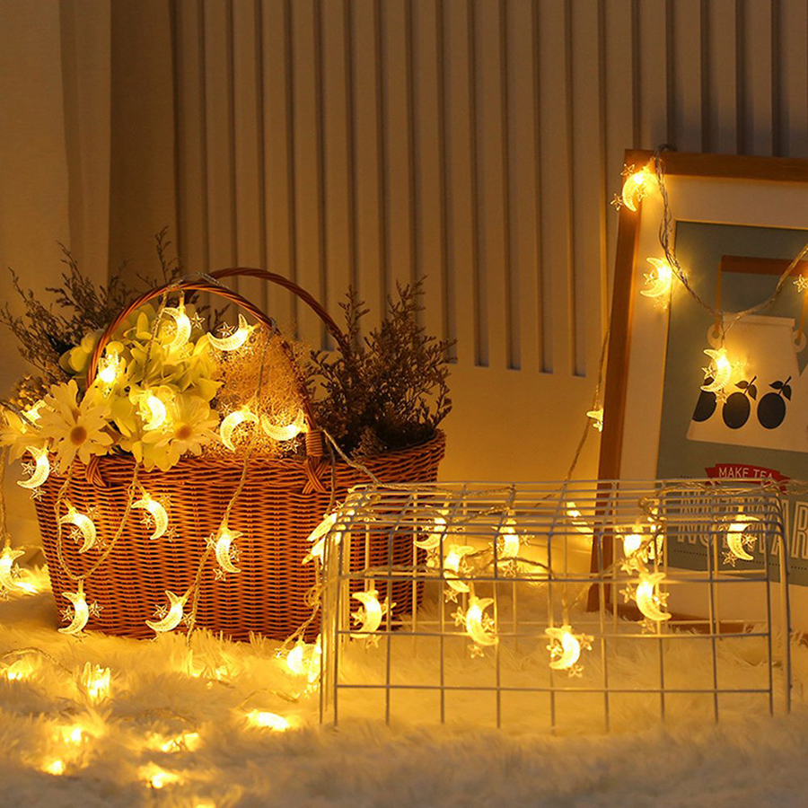 10/20/30/40 LED Star Moon Fairy String Lights Battery Operated Christmas Garland Wedding Party Birthday Decoration Twinkle Light