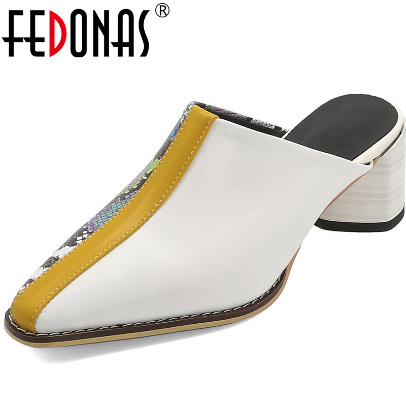 FEDONAS Half Slippers Summer Fashion Snake Pattern Women Sandals Square Heeled Sequined Square Toe Brand Design 2020 Shoes Woman