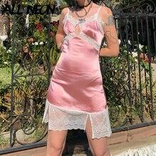 ALLNeon Egirl-Vestido corto de satén con tirantes finos para mujer, Vestido corto de estilo Vintage gótico, color rosa
