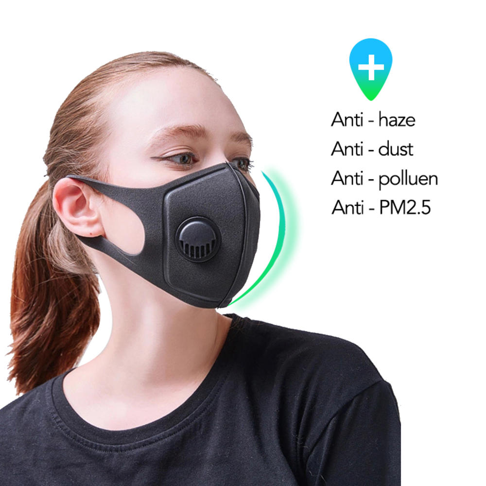 Reusable Filter Double Breathing Valve Masks Dustproof PM2.5 Pollution Breathable Sponge Half Face Mouth Masks Riding Protective