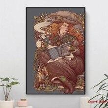 Peinture sur toile de sorcière folklorique, imprimés d'art moderne, affiche d'art mural, décoration pour maison, bureau, hôtel, appartement, NOUVEAU
