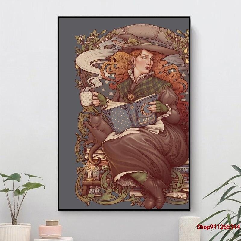 Peinture sur toile de sorcière folklorique, imprimés dart moderne, affiche dart mural, décoration pour maison, bureau, hôtel, appartement, NOUVEAU