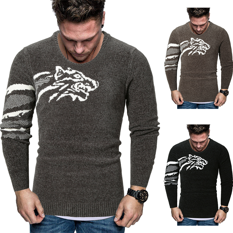 Good Quality Mens Cashmere Wool Christmas Sweater Tiger Print Long Sleeve Men Knitted Sweater Casual