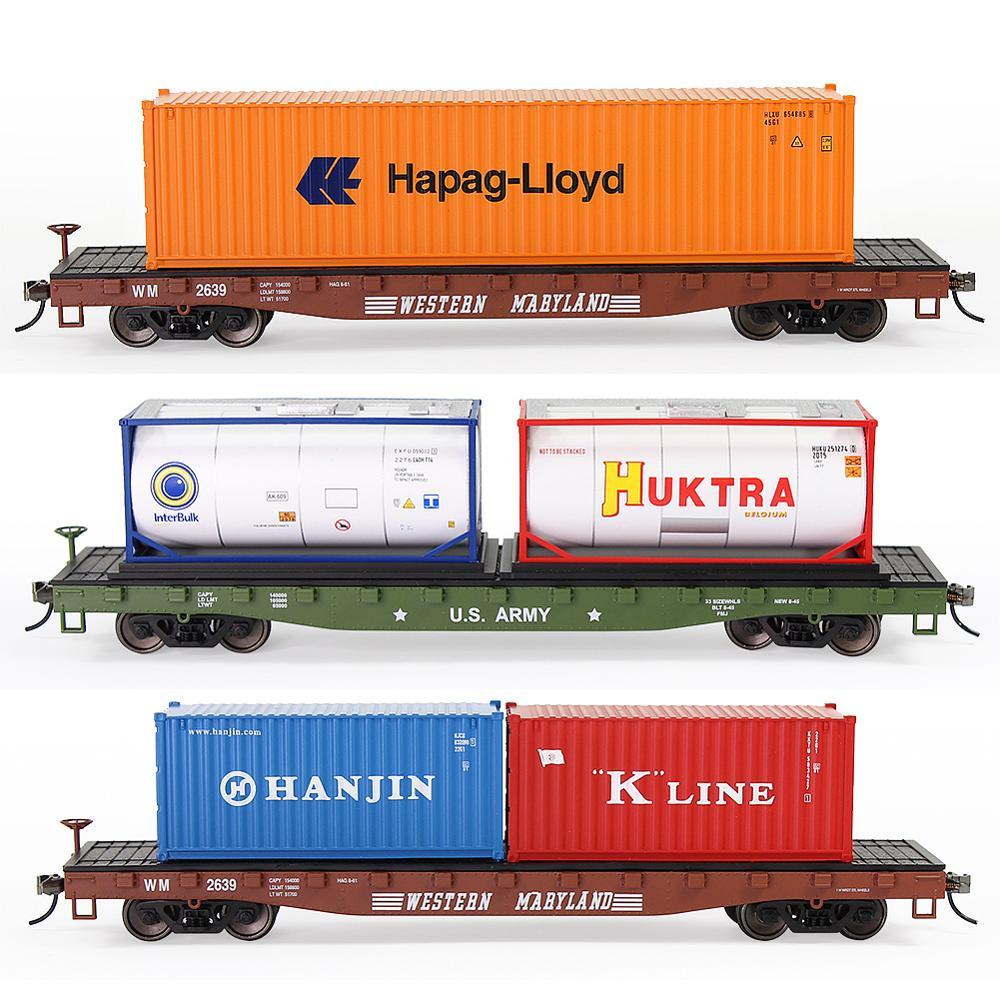 Грузовая машина HO Scale 1:87 52 фута, плоский Автомобильный бортовой транспортер, перевозка с контейнером для перевозки поездов C8741