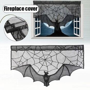¡Novedad! Cortina de tela para ventana manto de chimenea con decoración de Halloween, tela de encaje negro, toalla de estufa de murciélagos para fiesta