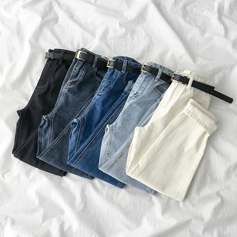 Женские джинсы 2021 весенние однотонные уличные брюки из денима с высокой талией Свободные повседневные Прямые брюки для девушек для женщин ...