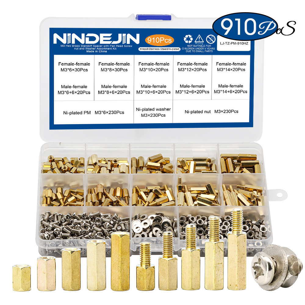 Hex Brass Screw-Nut Pan-Head Standoff-Spacer Assortment-Kit M3 Male with Washer Pcb 910pcs/Set