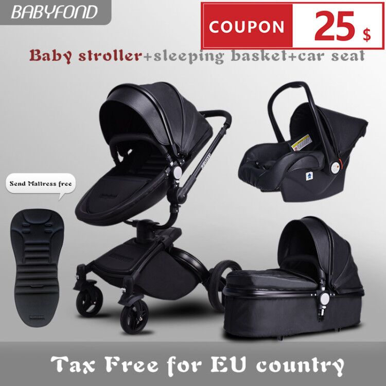 Fast Shipping ! Luxurious 3 In 1 Baby Stroller Aluminium Alloy Baby Pram Leather Two-way Shock Baby Trolley With Gifts Umbrella