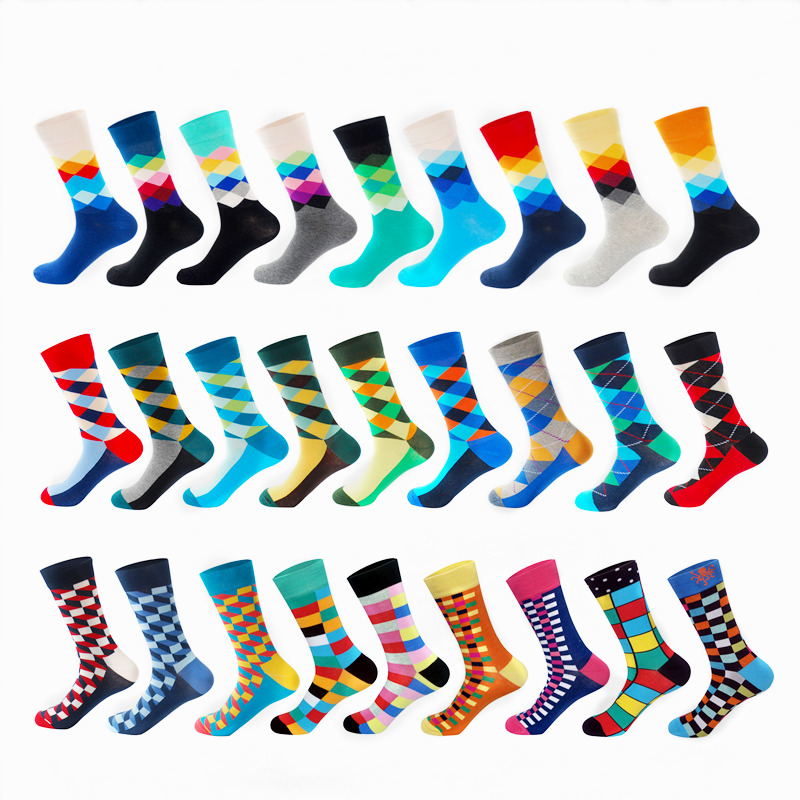 LIONZONE Men Funny Colorful Combed Cotton Socks Diamand Pattern Unisex Casual Dress Wedding Happy Socks