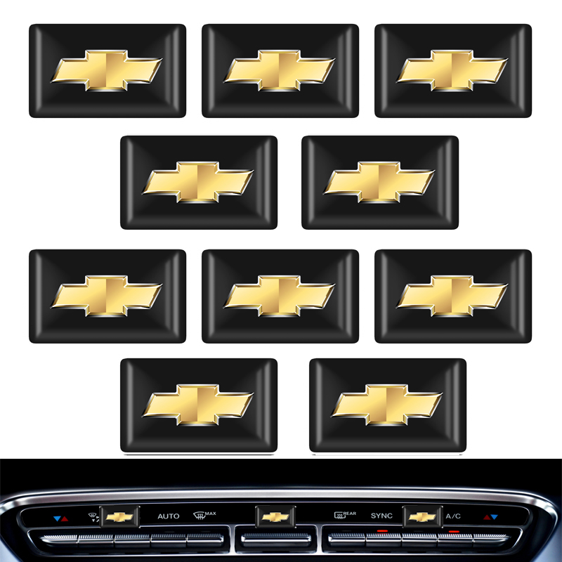 10pcs พวงมาลัย 3D รถสติกเกอร์รูปลอกสติกเกอร์ตกแต่งสำหรับ Chevrolet Cruze Captiva lacetti Aveo Niva TRAX ONIX อุปกรณ์เสริม