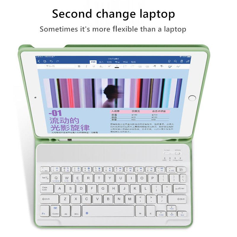 7th-Generation Keyboard-Case with Pencil-Holder Apple Bluetooth iPad for Cover