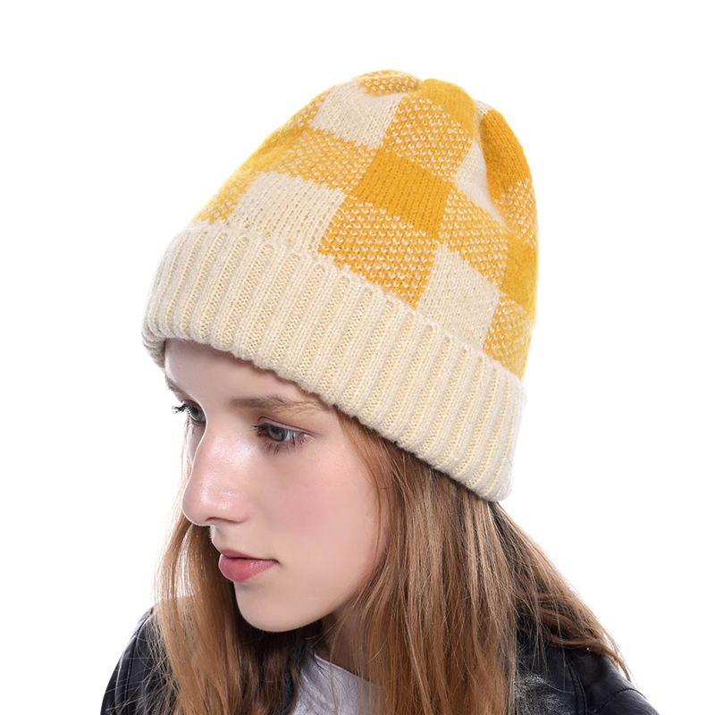 Winter Hat Caps Warming-Hats Women Wool Red Fashion Plaid Headpiece Lattice Knitting