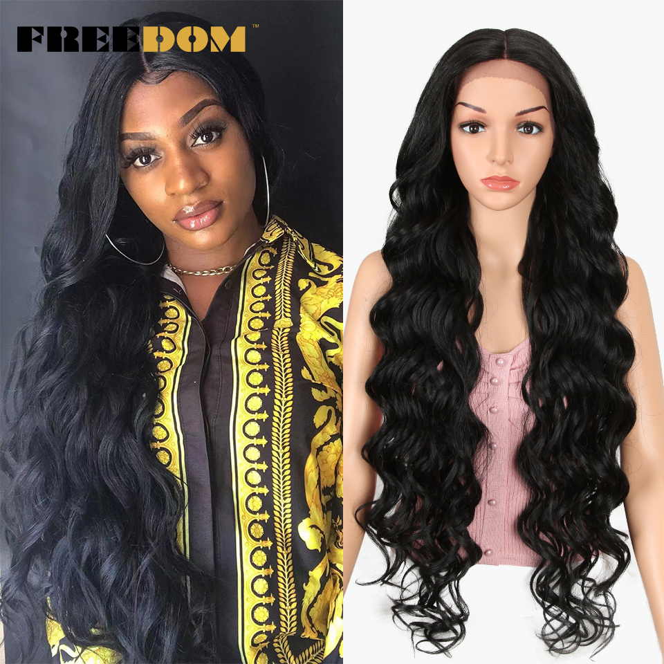 FREEDOM Lace Front Wig Synthetic 40 Inch Supper Long Natural Hair For Black Women High Temperature Fiber Breathable High Quality