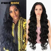 FREEDOM koronkowa peruka peruki syntetyczne dla czarnych kobiet 40 Cal bardzo długa naturalne włosy wysokiej temperatury włókna oddychająca peruka do Cosplay