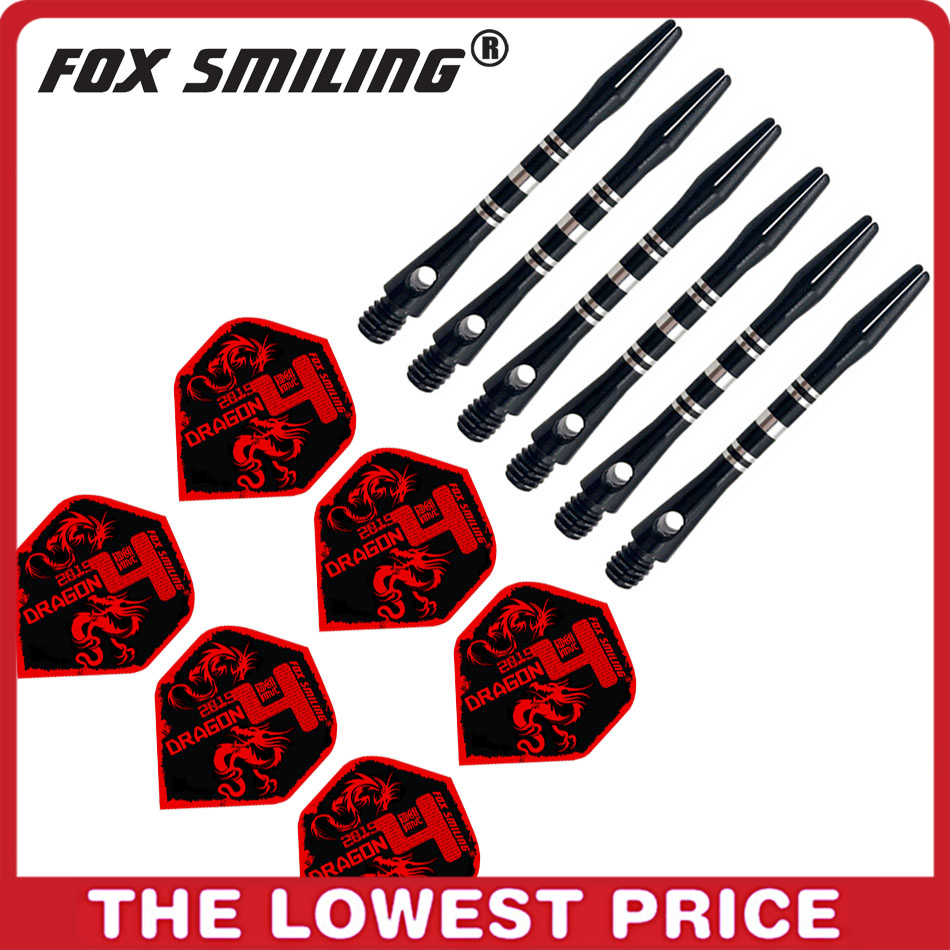 Fox Smiling 41mm Aluminium Dart Shafts And Darts Flights Set Dardos Feather Leaves Dart Accessories Set