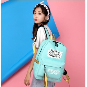 Image 4 - New Stranger Things Canvas Backpack USB Charge Women Student Backpack Letters Print School Bag Teenager Girls Ribbons Backpack