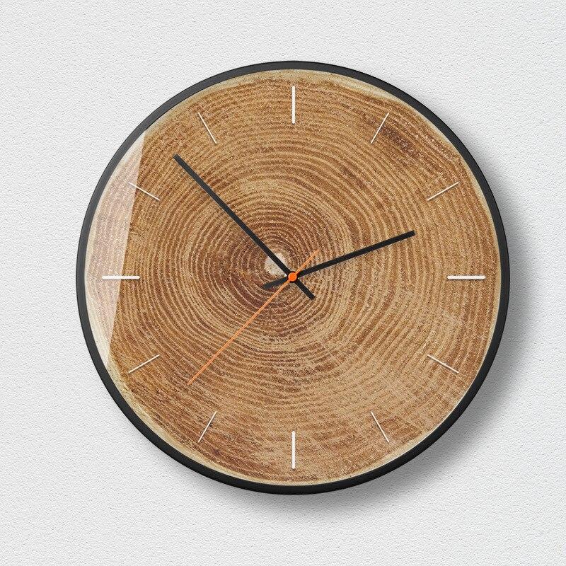 Horloge murale moderne minimaliste en bois silencieux salon créatif montres à Quartz accessoires de décoration de chambre horloges murales rondes - 2