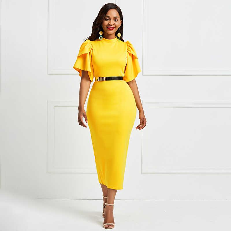 Sisjuly Bodycon שמלות נשים Falbala טלאי בציר אלגנטי סקסי משרד ליידי Slim אופנה צהוב עבודה ארוך שמלת ילדה