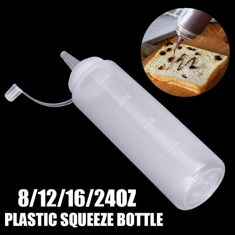 8-24oz Clear Squeeze Bottle Condiment Dispenser Ketchup Mustard Sauce Vinegar